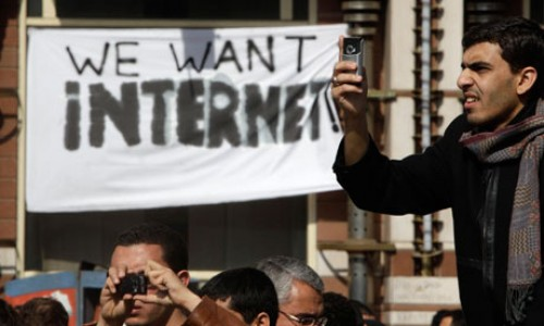 Egyptian protesters demand internet