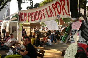 Indignados (the outraged) protest in Plaça de Catalunya, Barcelona. Photo: calafellvalo. Creative Commons.