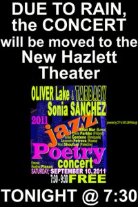 Jazz Poetry Concert 2011 moved to New Hazlett Theater