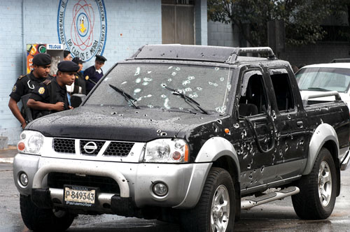 Bullet-riddle Car in Guatemala