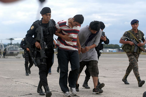Captured drug traffickers, Guatemala