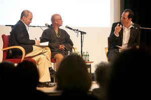Wen Huang, Liao Yiwu, and Philip Gourevitch.  Photo © Beowulf Sheehan/PEN American Center
