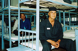 Muhammad Bekjanov in prison, 2003. Photo: Galima Bukharbaeva, IWPR