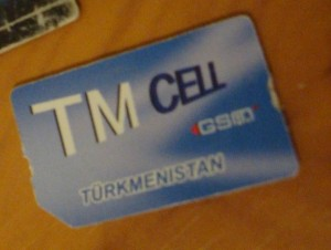 A SIM Card (memory chip) for a mobile phone under Turkmenistan's state-owned and only mobile operator, Altyn Asyr (also known as TM-Cell)