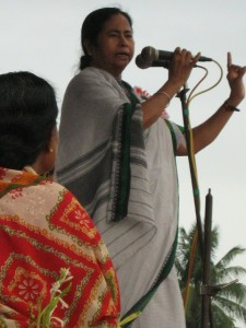 Mamata Banerjee, chief minister of West Bengal, speaking at Bongaon stadium.