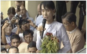 """It is not so much our triumph as the triumph of the people who have decided that they must be involved in the political process of this country...We hope that this can be the beginning of a new era where there will be more emphasis on the rule of the people in the everyday politics of our country."" --Aung San Suu Kyi at her acceptance speech, April 1, 2012"