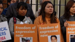 Burmese poetry protest, October 2011. Photo: EnglishPen, Creative Commons Licensed