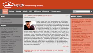The homepage of Esquife, a Cuban literary website