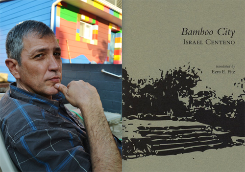 (L) Venezuelan writer Israel Centeno at his home on Sampsonia Way. (R) Cover of his latest book, <em>Bamboo City</em>. Photo: Camila Centeno, Wild Age Press