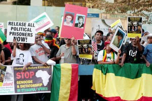 A protest calling for the release of Ethiopian political prisoners. Photo: flickr user Mira (on the wall). Creative Commons.