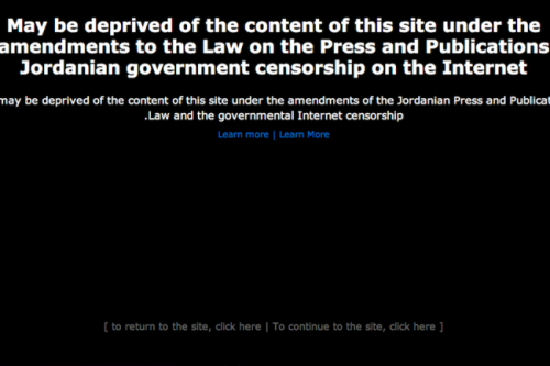 Jordan Internet Blackout