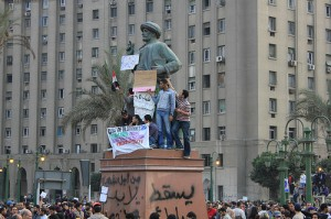 A statue of Omar Makram in Tahrir Square, February 1, 2011. Photo: Jano Charbel. Creative Commons.