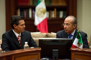 President Elect Enrique Peña Nieto (left) and his party PRI will be taking power as President Felipe Calderón leaves office. Photo: Gobiernal Federal. Creative Commons.