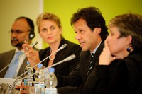 Cricket player turned Pakistani politician Imran Khan (2nd from right) Photograph: Stephan Röh