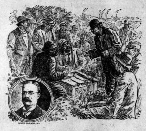 An illustration from depicting James McParland and the Molly Maguires from the San Fransisco Call published on November 26th, 1911. Photo: The Library of Congress