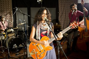 Rupa, center, performing at WFUV Radio. Left: drummer Aaron Kierbel, Right: upright bassist Safa Shokrai. Photo: WFUV, Creative Commons.