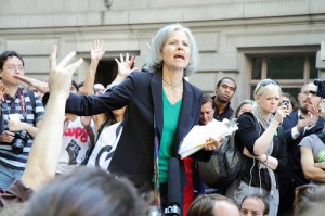 Jill Stein speaking at an Occupy Wall Street demonstration. Today we feature an interview with Stein in this week's round up. Photo: Paul Stein.
