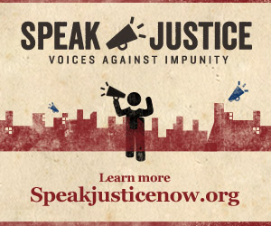 Speak Justice Now Campaign Poster