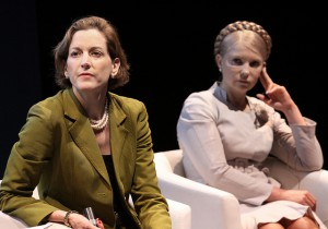 "Anne Applebaum (left) moderating a panel on ""Women for Democracy."" Photo: PolandMFA, Creative Commons."