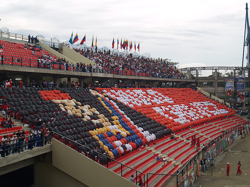 Chavez supporters at a sports event.