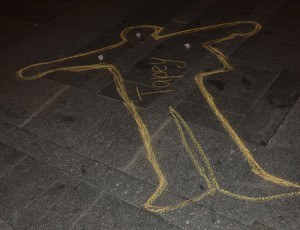 A chalk outline in the Czech Republic in memory of Tibetan monk Tapey, one of the 100 immolators in protest of occupied Tibet. Photo: Ya Noya Shantie on Flickr.