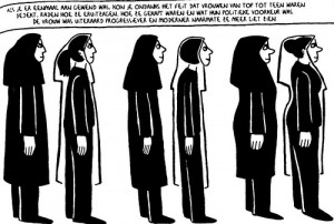In this panel from Marjane Satrapi's graphic novel memoir Persepolis, Iranian women discuss wearing veils. Photo: Peter Forret.
