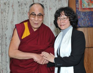 Tienchi Martin-Liao meets with the Dalai Lama in Dharmasala, India this year. Photo: Courtesy of the author.