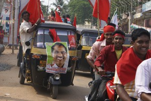 Communist Party supporters in Kerala during the campaign season of the 2011 Indian election. Photo: Ranjit Bhaskar/Al Jazeera