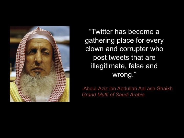 "<a href=""http://riyadhbureau.com/blog/2013/3/saud-mufti-twitter-clown"">""Saudi Grand Mufti: Twitter Users Are Clowns,"" <em>Riyadh Bureau</em>, 2013</a>"