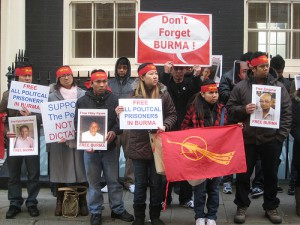 Protestors calling for the release of political prisoners in Burma