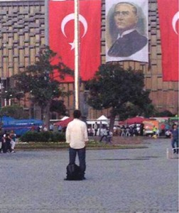 Standing Man in Istanbul as a protest (2)