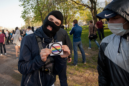 An anti-gay demonstrator shares his views. Photo: Valya Egorshin, some rights reserved.