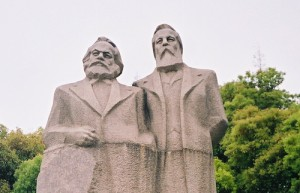 Statue of Karl Marx and Friedrich Engels in Shanghai, China. Photo via wikimedia, Creative Commons.
