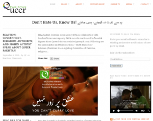 A snapshot of the website www.queerpk.com. Photo via Index on Censorship