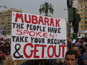 Protestors rally in Tahrir Square calling for former President Mubarak to step down. Photo by Joseph Hill via Flickr.