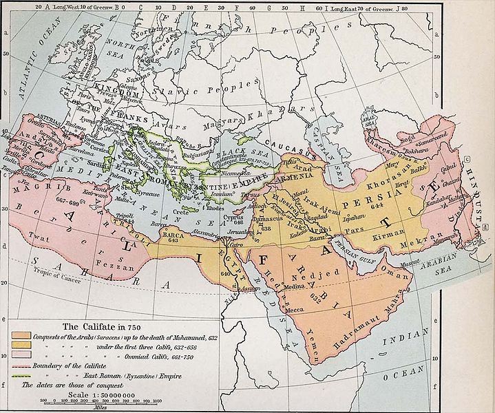 Map of Islamic Caliphate c. 750 AD