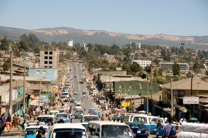 A main street in Addis Ababa, where Ethiopians protesting the government's Master Plan for expansion have been victims of mass killings and arrests.
