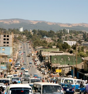 A main street in Addis Ababa, where Ethiopians protesting the government's Master Plan for expansion have been victims of mass killings and arrests. via en.wikipedia.org