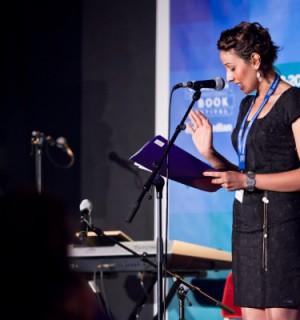 Sabreen Kadhim reads at Reel Iraq: The Golden Hour at Jura Unbound, Edinburgh International Book Festivals (Photo by Chris Scott).