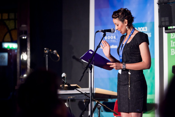Sabreen Kadhim reads at Reel Iraq: The Golden Hour at Jura Unbound, Edinburgh International Book Festivals (Photo by Chris Scott).