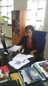 Tsedale Lemma in her office at the Addis Standard.