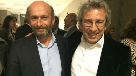Journalists Can Dündar and Erdem Gül were arrested and charged with espionage in November 2015. Image via Pen International.
