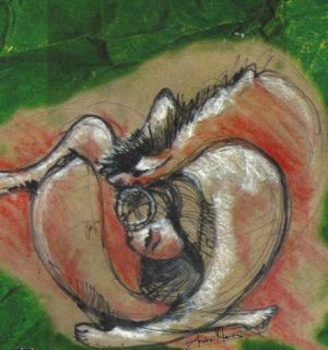 "Image by Andrei Havos, from the cover of ""Muher Entre Perro y Lobo"" by Lety Elvir."