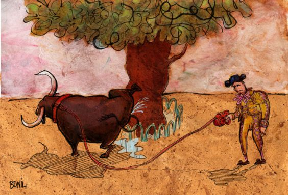 A Bull on a Leash