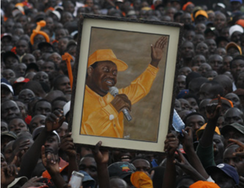 Orange Democratic Movement supporters hold up a portrait of Raila Odinga. Image via WikiCommons.