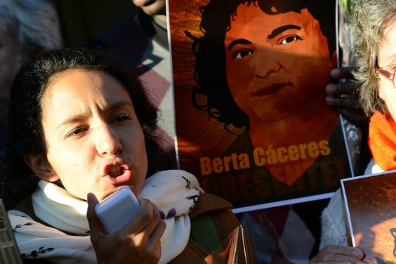 A protester after the assassination of Berta Cáceres. Image by Daniel Cima via Flickr.